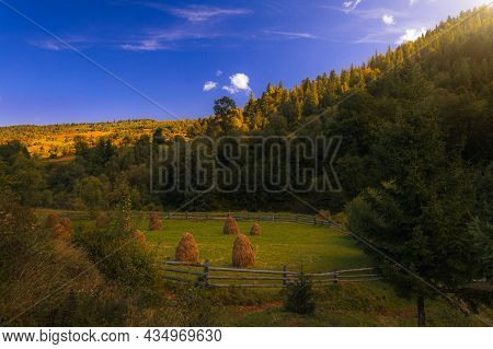 Majestic Autumn Scenery Highland Mountain Harvest Landscape Rural Scene In October Time With Meadow