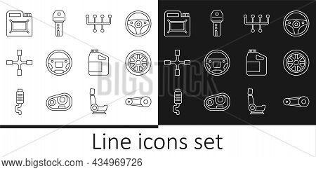 Set Line Timing Belt Kit, Car Wheel, Gear Shifter, Steering, Wheel Wrench, Canister For Motor Oil, A