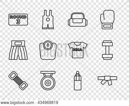 Set Line Chest Expander, Black Karate Belt, Sport Bag, Gong, Boxing Ring Board, Bathroom Scales, Pun