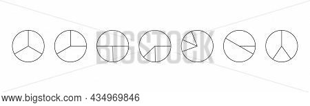 Outline Circles Divided In 3 Segments Isolated On White Background. Pie Or Pizza Round Shapes Cut In