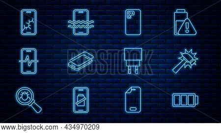 Set Line Battery, Hammer, Smartphone, Glass Screen Protector, Phone Repair Service, Mobile With Brok