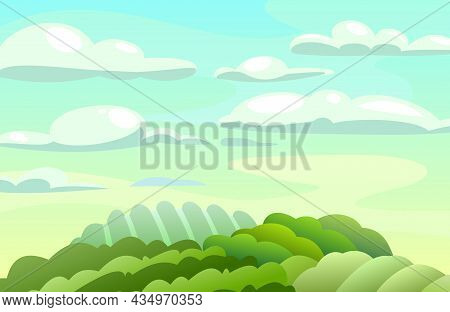 Green Rural Vegetables And Grassy Hills. Farm Cute Landscape. Funny Cartoon Design Illustration. Sum