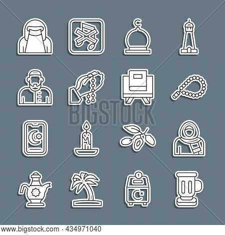 Set Line Medieval Goblet, Muslim Woman In Hijab, Rosary Beads Religion, Mosque, Hands Praying Positi