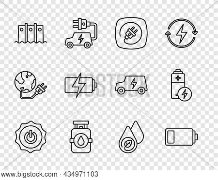 Set Line Power Button, Battery, Electric Plug, Propane Gas Tank, Hydroelectric Dam, Water Energy And