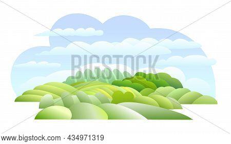 Rural Hills. Farm Cute Landscape. Funny Cartoon Design Illustration. Flat Style. Isolated On White B