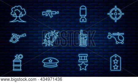 Set Line Military Rank, Helicopter, Rocket Launcher, Bomb Explosive Planet Earth, Howitzer, Nuclear