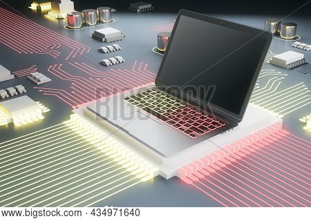 Abstract Circuit Built In Empty Laptop Pc Screen On Silver And Pink Hardware Background. Technology,