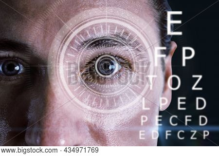 Abstract Eyesight Image With Attractive European Man Portrait, Digital Eye Lens And Letters On Dark