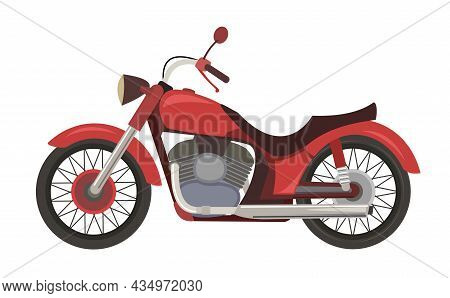 Chopper Bike Cartoon. The Illustration Is Isolated On A White Background. Side View. Cool Motorcycle