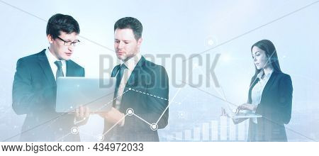Businesspeople Working Together On Abstract Blurry Digital Background. Success And Teamwork Concept.