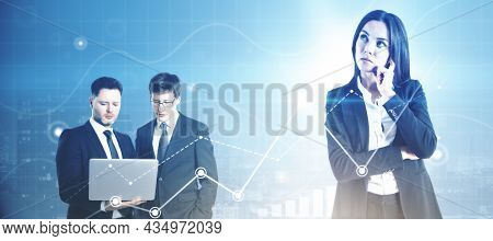 Businesspeople Working Together On Abstract Blurry Digital Background. Success And Team Work Concept