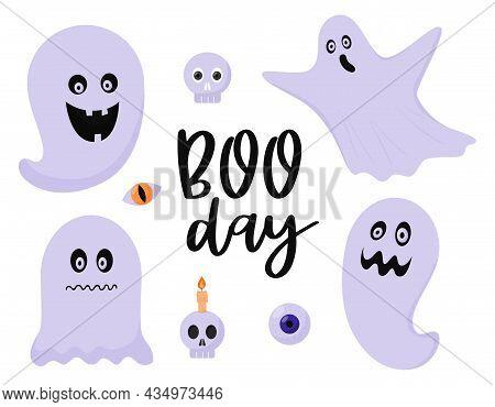 A Set Of Ghosts, Spirits, Poltergeists. Halloween Decorative Elements, A Skull, An Eyeball, A Skull