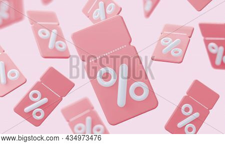 Background Of Pink Coupons With Interest. A Loyal Program For Customers, Profitable Purchases. Onlin