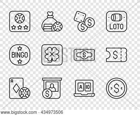 Set Line Casino Chip And Playing Cards, Coin Money With Dollar, Game Dice, Chips Exchange, Online Po