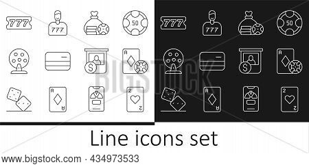 Set Line Playing Card With Heart, Casino Chip And Playing Cards, Money Bag, Credit, Lottery Machine,