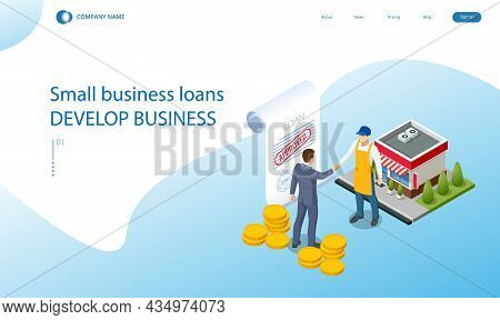Isometric Small Business Loan Form Financial Concept. Shop That Get Loans From Bank Without Collater