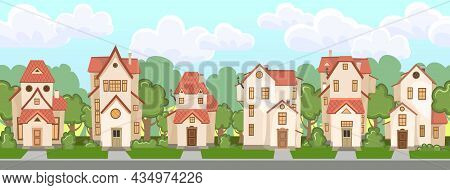 Street. Cartoon Houses With Trees. Village Or Town. Seamlessly. A Beautiful, Cozy Country House In A