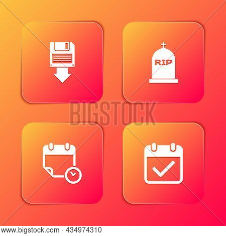 Set Floppy Disk Backup, Tombstone With Rip Written, Calendar And Clock And Check Mark Icon. Vector
