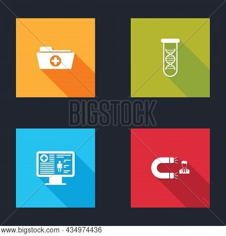 Set Health Record Folder, Dna Research, Search, Clinical On Monitor And Customer Attracting Icon. Ve