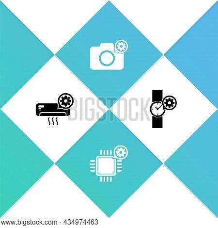 Set Air Conditioner Setting, Processor, Photo Camera And Wrist Watch Icon. Vector