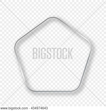 Silver Glowing Rounded Pentagon Shape Frame With Shadow Isolated On Transparent Background. Shiny Fr