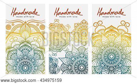 Set Of Vector Cards With The Inscription Handmade. Retro Entic Ornament. Colored Rainbow Mandala.