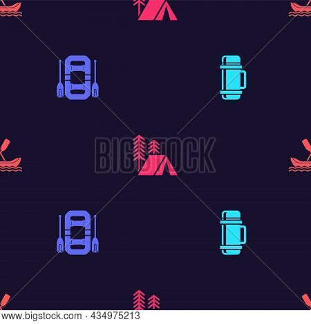 Set Thermos Container, Rafting Boat, Tourist Tent And On Seamless Pattern. Vector