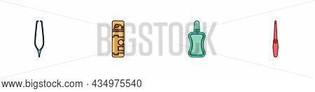 Set Eyebrow Tweezers, Shaving Gel Foam, Nail Polish Bottle And File Icon. Vector