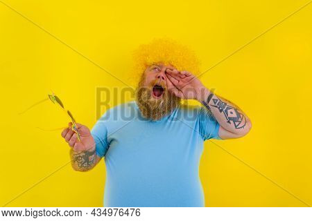 Fat Annoyed Man With Wig In Head And Sunglasses