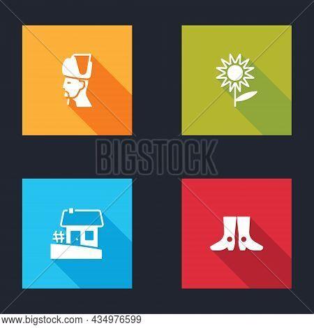 Set Ukrainian Cossack, Sunflower, House And Footwear Icon. Vector
