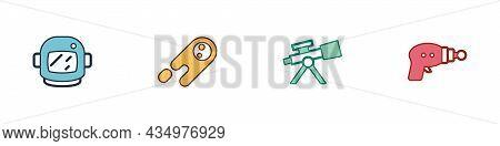 Set Astronaut Helmet, Comet Falling Down Fast, Telescope And Ray Gun Icon. Vector