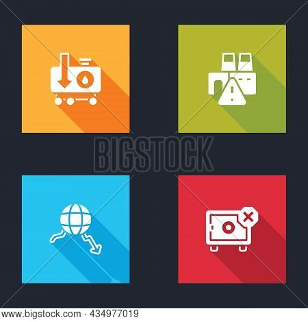 Set Drop In Crude Oil Price, Shutdown Of Factory, Global Economic Crisis And Safe Icon. Vector