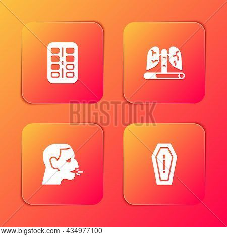 Set Nicotine Gum In Blister Pack, Disease Lungs, Man Coughing And Death From Smoking Icon. Vector