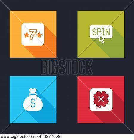 Set Casino Slot Machine, Slot Spin Button, Money Bag And Icon. Vector