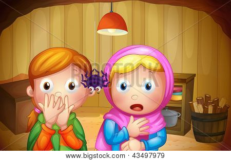 Illustration of the two girls watching the spider