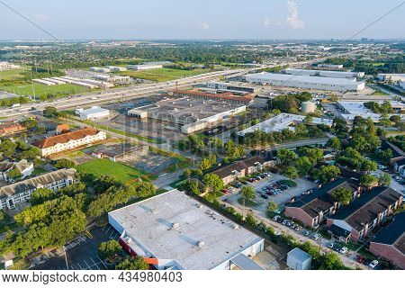 20 September 2021 Houston, Tx Usa: Panorama Overlooking View Mall Plaza Shopping Near 45 Interchange