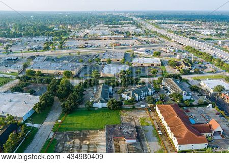 20 September 2021 Houston, Tx Usa: Aerial Overlooking Houston City Of Beautiful Highway Texas With T