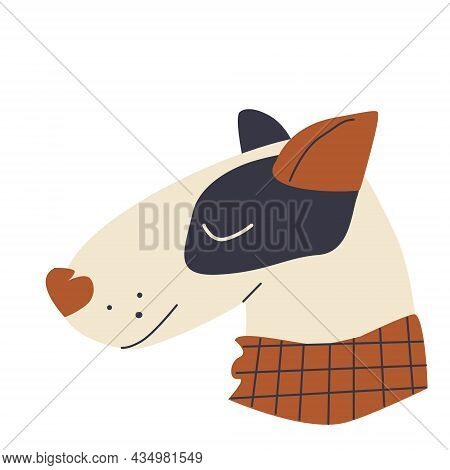 Muzzle Beige Dog In A Checkered Brown Scarf With Closed Eyes In A Hand-drawn Style On A White Backgr