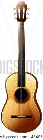 Illustration of a classical guitar on a white background