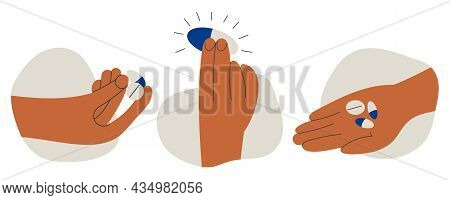 Set Of Hands Holding Pills Tablet Drugs Capsules Or Vitamins By Two Fingers And In Open Palm. Pharma