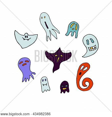 Doodle Halloween Ghosts Set. Colour Ghosts Isolated On White Background. Hand-drawn Cute Scary Spiri