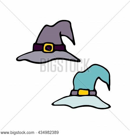 Doodle Witch Hats Set. Hand-drawn Details Of Masquerade Festive Costume Isolated On White Background