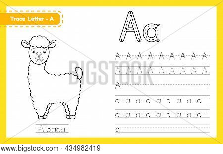 Trace Letter A Uppercase And Lowercase. Alphabet Tracing Practice Preschool Worksheet For Kids Learn