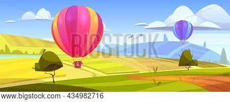 Summer Landscape With Flying Hot Air Balloons, Green Fields, River And Road. Vector Cartoon Illustra