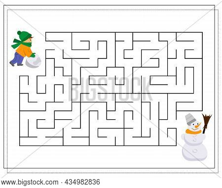 A Maze Game For Kids, Help The Child To Go Through The Maze And Make A Snowman. Vector