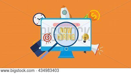 Internet, Business, Technology And Network Concept. Now Hiring Inscription, Modern Technology Busine