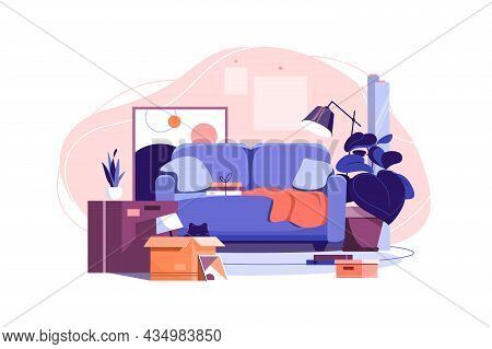 Moving In Into New Apartment Vector Illustration. Mess In Living Room, Unpacked Stuff Flat Style. Re