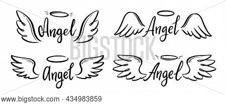 Angel Wing With Halo And Angel Lettering Text Set. Hand Drawn Line Sketch Style Wing. Simple Vector