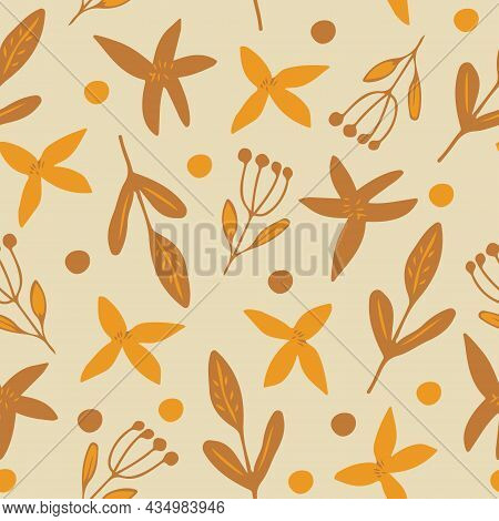 Flowers, Leaves Seamless Pattern. Doodle Vector Hand Drawn Minimalism Simple. Wallpaper, Textiles, W