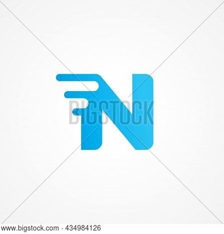 Letter N Shape Streaking With Fluid Effect. Initial Alphabet Logo Design Template For Kids Product,